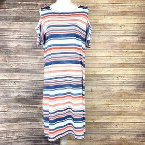 Land's End Multicolor Striped Maxi Dress Size 1X
